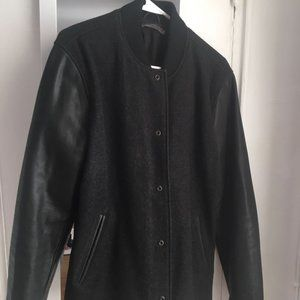 vince varsity wool jacket leather sleeve